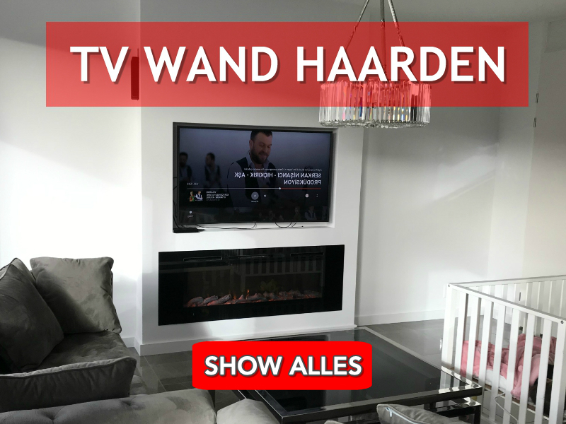 open haard in een televisie wand of onder tv