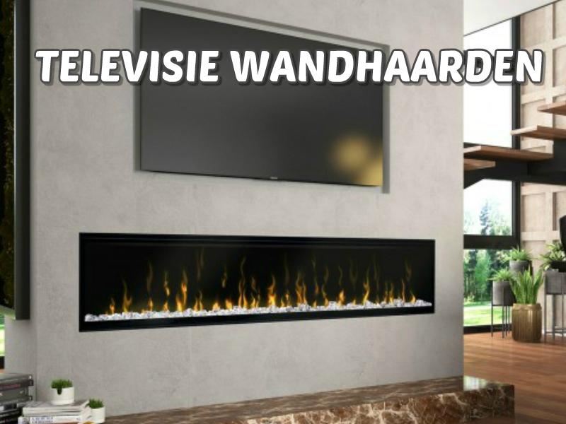 open haard in een televisie wand of onder tv